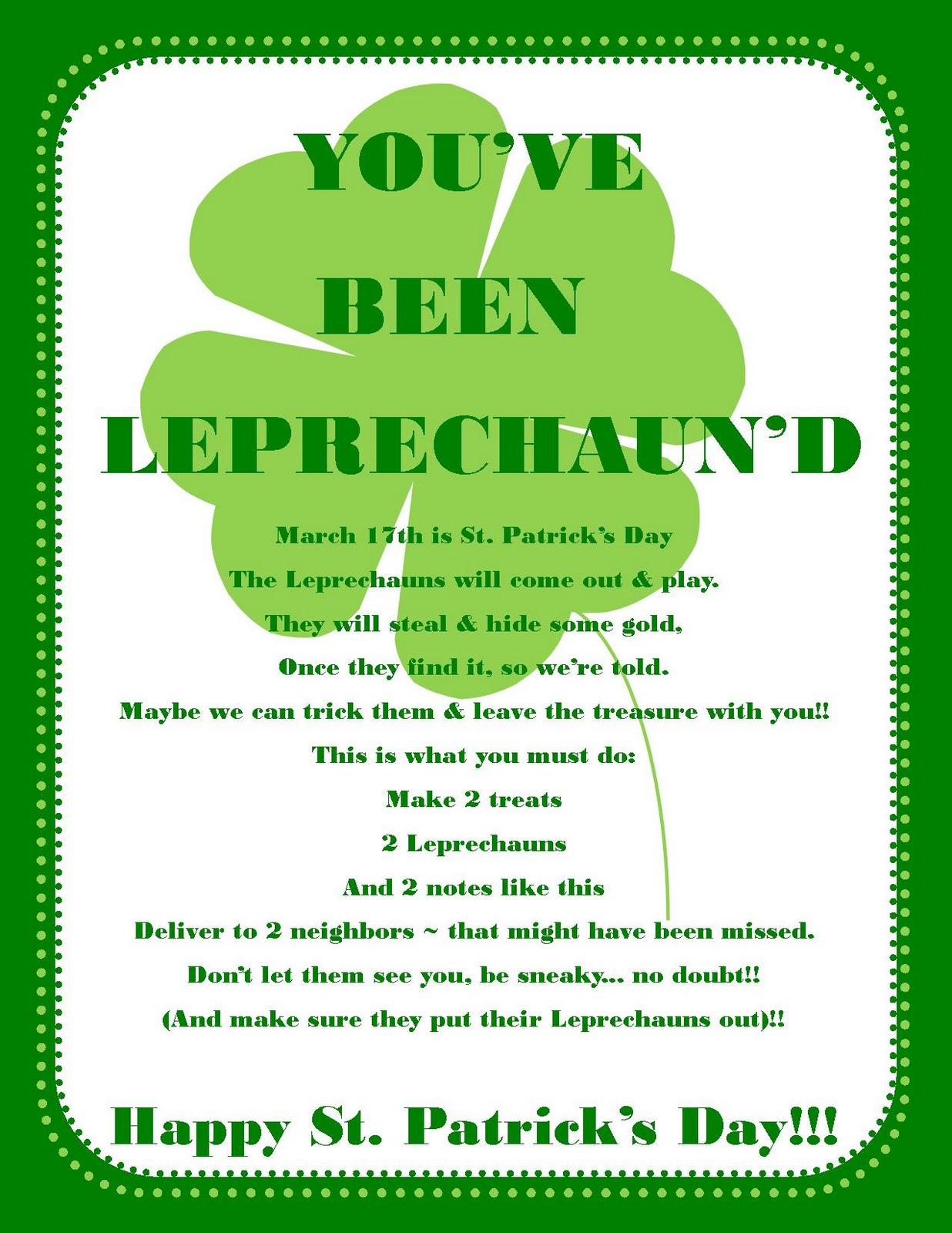 Bellagrey Designs You Ve Been Leprechaun D Free Printable