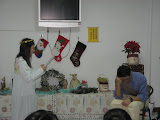 The angel (Becky) speaking to Joseph (John)