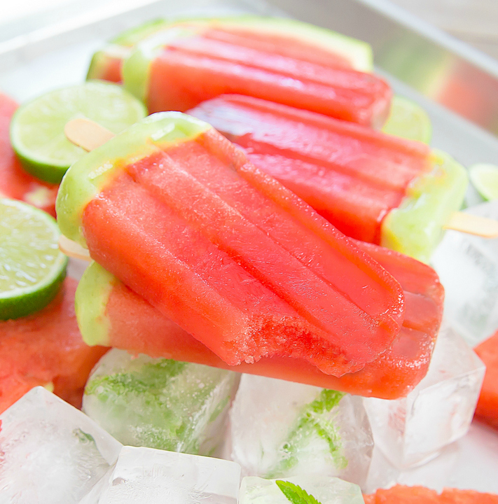 close-up photo of Watermelon Lime Ice Pops