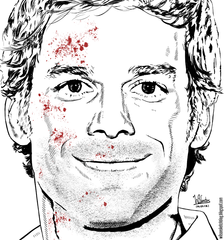 Ink drawing of Dexter (Michael C. Hall), using Krita 2.5 Beta.