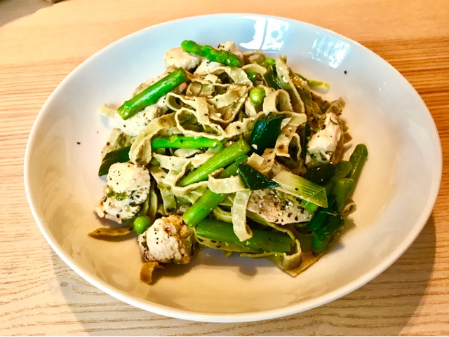 Low carb edamame pasta with chickenm asparagus and green peas