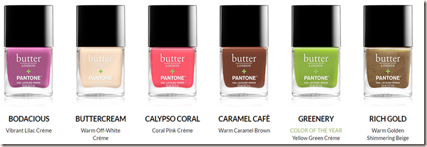 Butter London Pantone 2017 Color of the Year Polishes Bodacious, Buttercream, Calypso Coral, Caramel Cafe, Greenery and Rich Gold