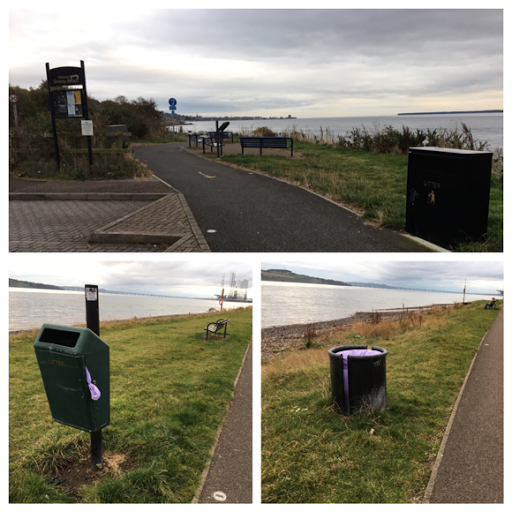 Rubbish bins on coastal pathway in Broughty Ferry