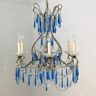 Crystal and Blue Glass Six-Arm Chandelier