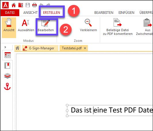 Text in PDF bearbeiten