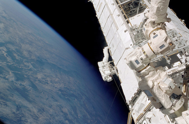 Astronaut Piers Sellers during a spacewalk outside of the International Space Station. Photo: NASA