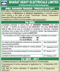 BHEL Engineer Trainees through GATE 2017 www.indgovtjobs.in