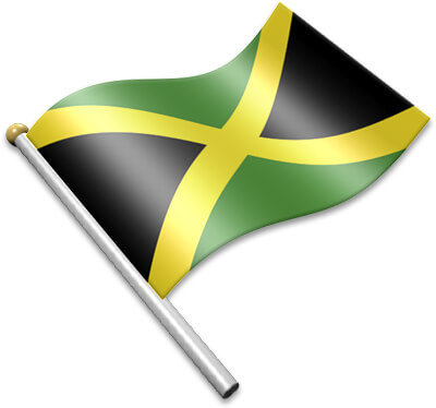 The Jamaican flag on a flagpole clipart image