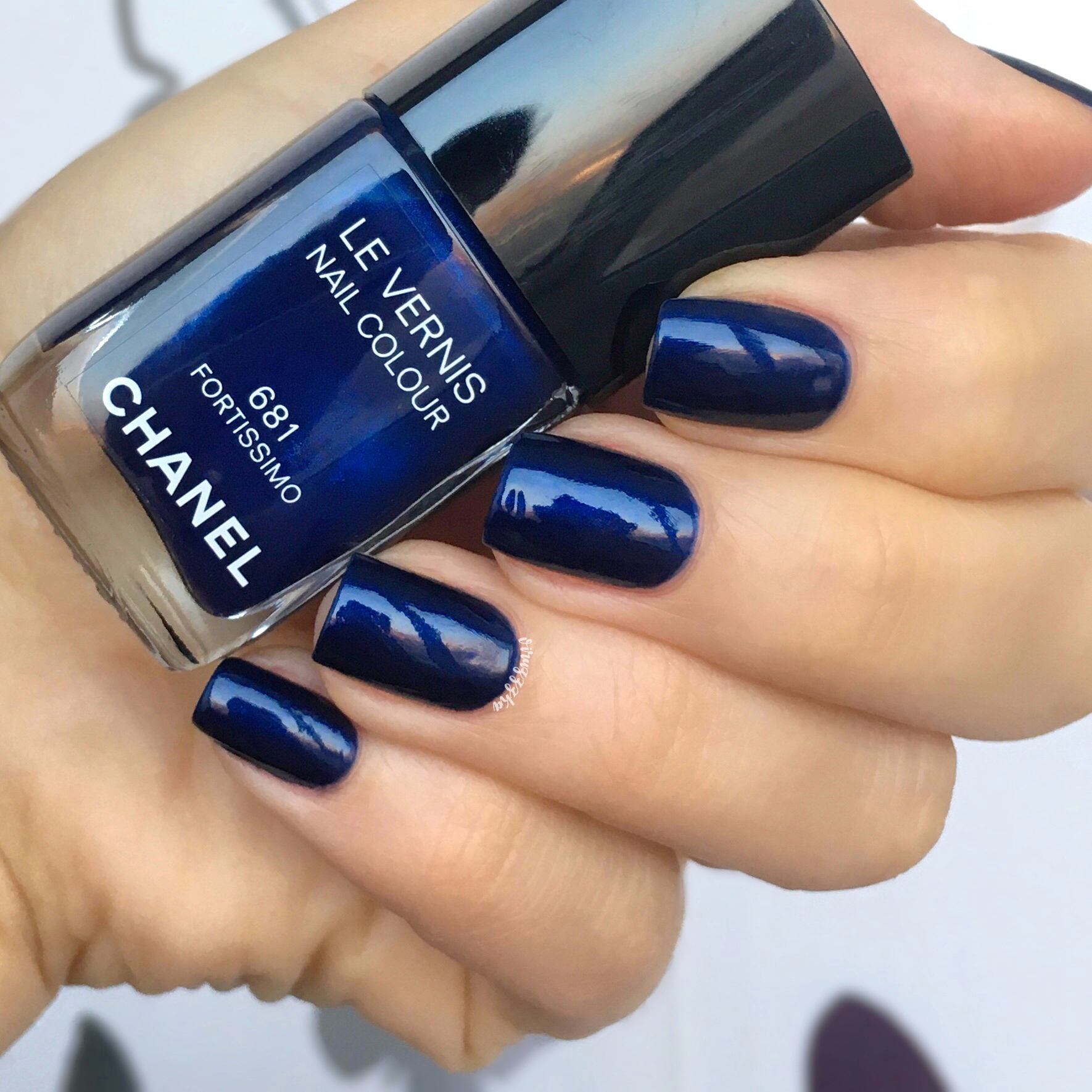 Chanel 681 Fortissimo Nail Swatch Autumn Blue Manicure Review