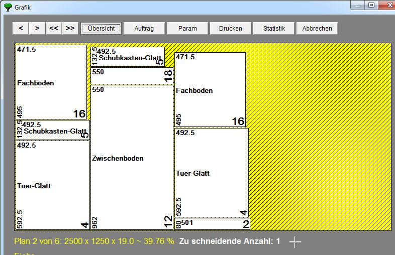 ElementsOPT - grafische Darstellung der Plattenoptimierung mit Bezeichnungen
