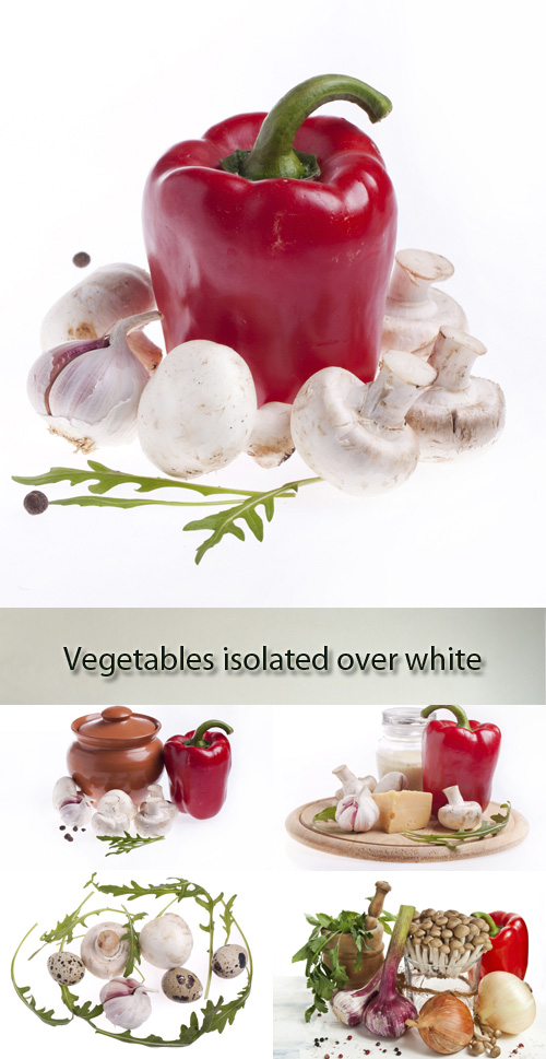 Stock Photo: Mushrooms, garlic and pepper (vegetables) on a white background