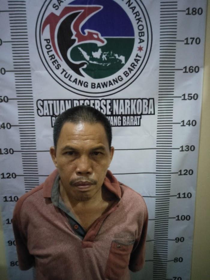 Satuan Narkoba Polres Tubaba menggelar ungkap penangkapan satu pengedar Jenis-sabu