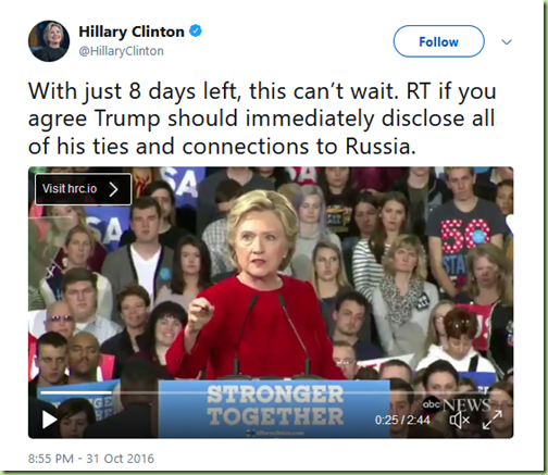 hillary 8 days left russia