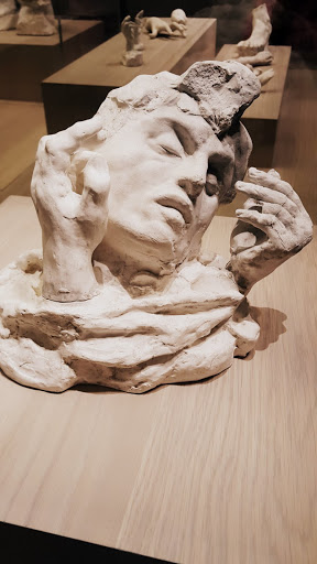Assemblage: Head of the Shade surrounded by two hands, plaster, 1900-02. Exploring the Rodin Exhibit at the Montreal Museum of Fine Arts