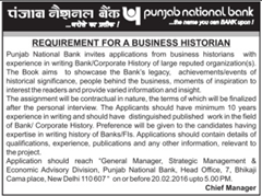 Punjab National bank Business Historian