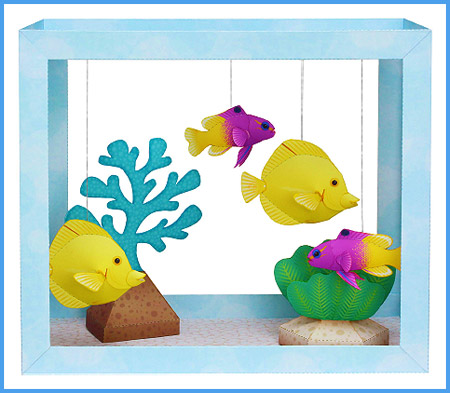 Aquarium Papercraft - Yellow Tang & Royal Gramma
