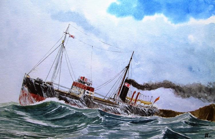Vapor MINA MERUXAL navegando por el duro Cantabrico. Acuarela de Roberto Hernandez. El Ilustrador de Barcos.jpg