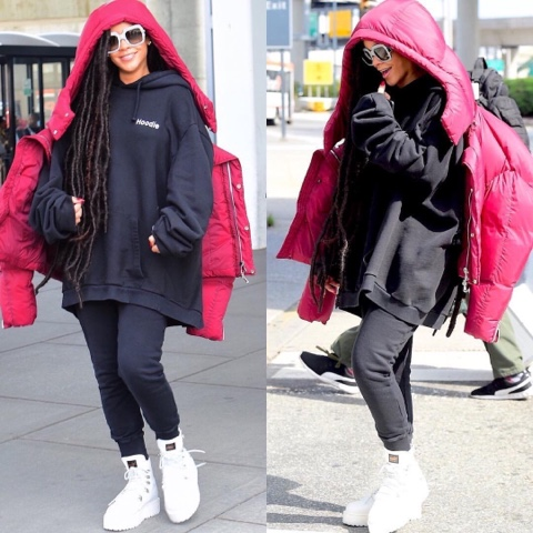 Rihanna wears Chen Peng Burgundy Puffer Jacket in NYC