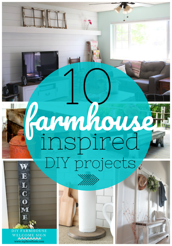 10 Farmhouse Inspired DIY Projects at GingerSnapCrafts.com #DIY #farmhouse #forthehome