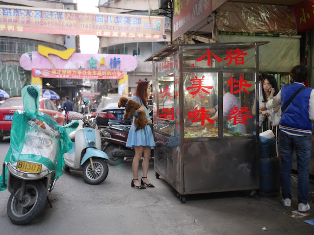 young woman holding a poodle and ordering food to take away at a food stall in Jieyang, China