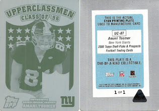 Photo: Amani Toomer 2006 Topps Draft Picks and Prospects Upperclassmen Jersey Printing Plates Cyan Front (1/1)