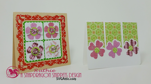 SnaoDragon snippets, flowers quartet card, Posies trio card, Ruthie Lopez