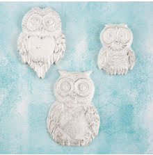 Prima Shabby Chic Treasures Resin Embellishments 3/Pkg - Large Owls