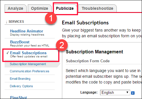 Feedburner E-Mail Follower anzeigen