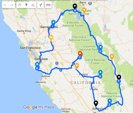 Map of our Spring Trip