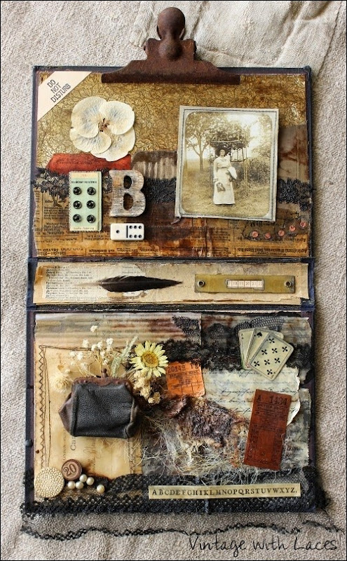 Blanche's Memories - A Mixed Media Collage by Vintage with Laces