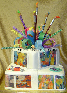 Artist 80th birthday cake with her paintings in sugar, paint tubes, brushes, bows and a palette with her name