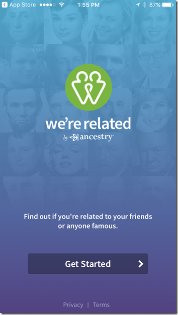 We're Related by Ancestry title screen