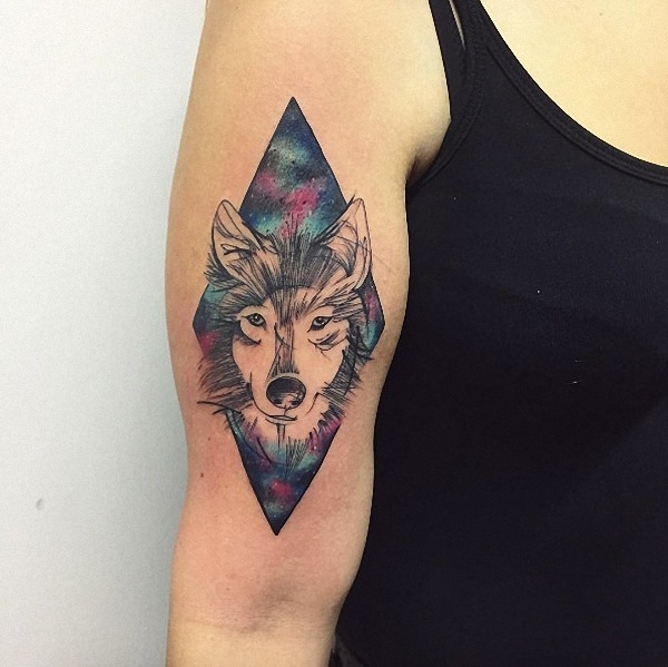 este_esboçou_csmica_lobo_tatuagem