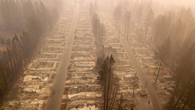 Aerial view of an incinerated neighborhood in Paradise, California, on 15 November 2018. Photo: Josh Edelson / AFP / Getty Images