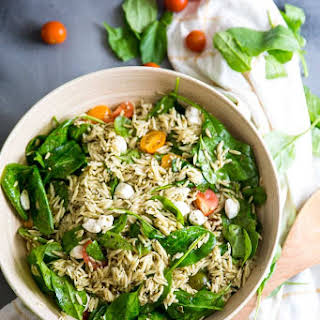 Spinach and Pesto Orzo Salad.