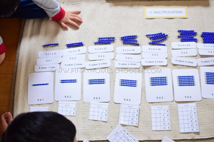 Multiplication Labels with Montessori Beads, Bead Array Cards, and Notation Paper
