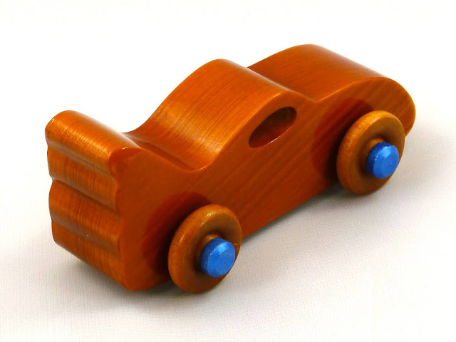 Handmade Wooden Toy Bat Car from the Play Pal Series Amber Shellac with Metalic Blue Trim