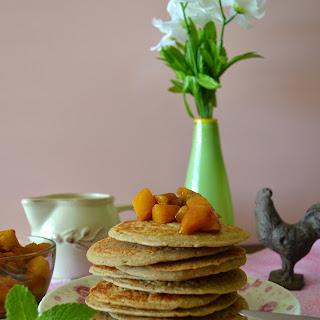 Enchanted Vanilla Pancakes w/ Chai-spiced Peach Compote