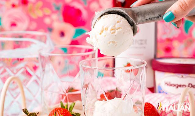 wine float scooping the ice cream