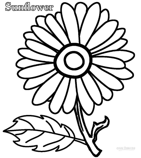 Simple Sunflower Coloring Pages