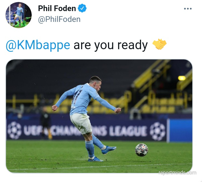 Phil Foden sends message to Mbappe after Man City qualify to face PSG in semi final