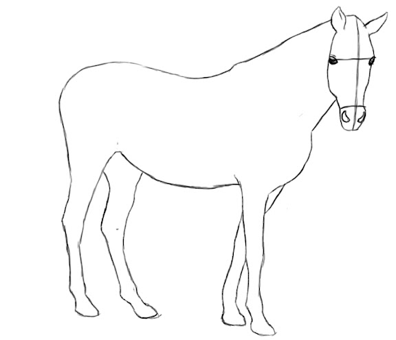how to draw a realistic horse stable