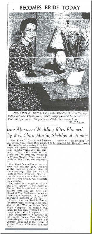 Clara Martin Sheldon Hunter Marriage Fresno Bee Republican 18 Feb 1942 Page 6