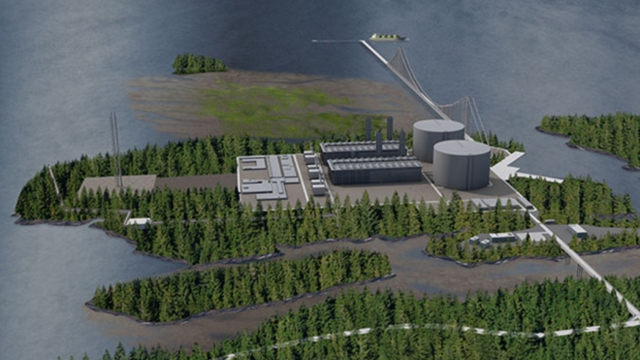 An artist's rendering of the proposed Pacific NorthWest LNG plant near Prince Rupert, B.C., showing a suspension bridge past Flora Bank. Photo: Pacific NorthWest LNG