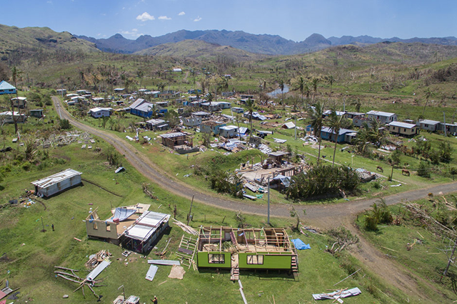 Aerial image of Cyclone Winston damage in Fiji, 3 March 2016. Photo: Brant Cumming / ABC News