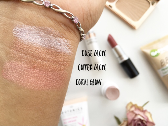 review natural collection highlighter sticks NC40 swatch rose glow, copper glow, coral glow review