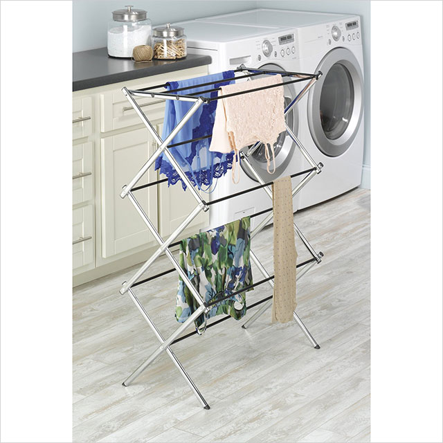 Whitmor Chrome Folding Clothes Drying Rack Easy Storage In Laundry Room Bathroom Garage 6060