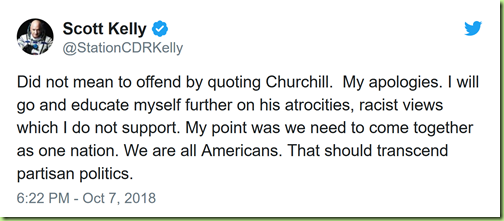 scott kelly churchill apology