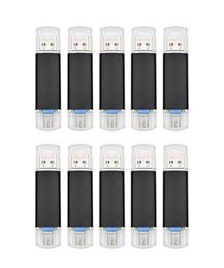 FEBNISCTE 10pcs 16GB Black Micro USB 3.0 OTG Flash Drive for Android Smartphone/Tablet /PC