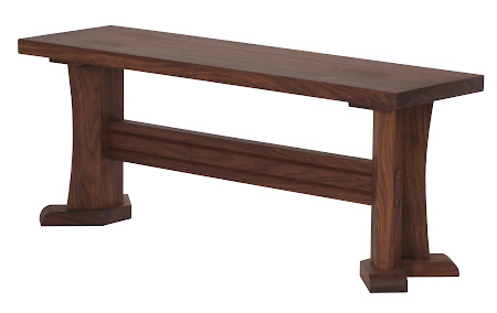 "40"" wide x 17"" high x 12"" deep Victoria Bench in Natural Walnut"